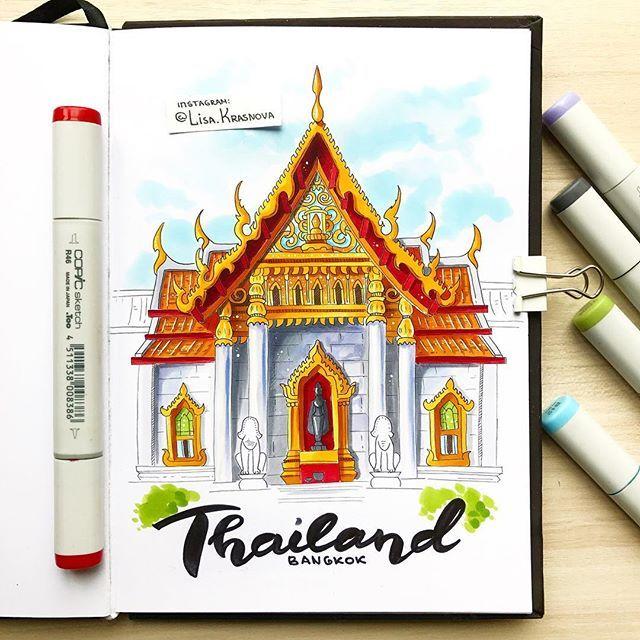 Memories of Thailand  Один из уроков в моей книге посвящён архитектуре, так что я решила и в марафон добавить эту тему. А чтобы было интереснее, выбрала необычное географическое направление. Итак! Тема 2/4 - азиатская архитектура!  Рисуйте и не забывайте хэштег #lk_travel_sketch. Следующая тема будет в понедельник! ☀️Кстати! На протяжении всего марафона в магазине нашего спонсора @do_sketch скидка аж 20% по промокоду lisa.krasnova! Не упустите возможность закупиться маркерами :)