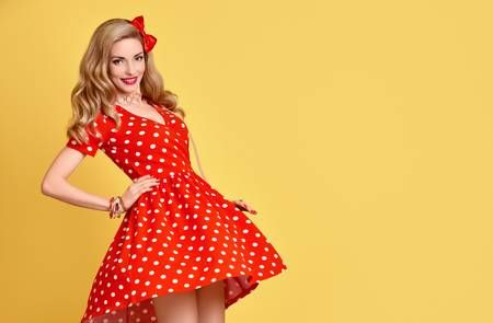 1327907e6 Fashion Woman Smiling in Red Polka Dots Summer Dress. PinUp Sensual Blond  Girl Having fun