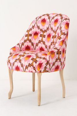 Raspberry Ikat Armless Accent Chair