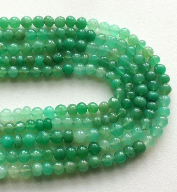 WHOLESALE 5 Strands Chrysoprase Plain Round Beads by gemsforjewels