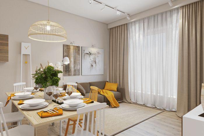 wohnzimmer einrichten beispiele offener wohnplan gelbe akzente gardinen