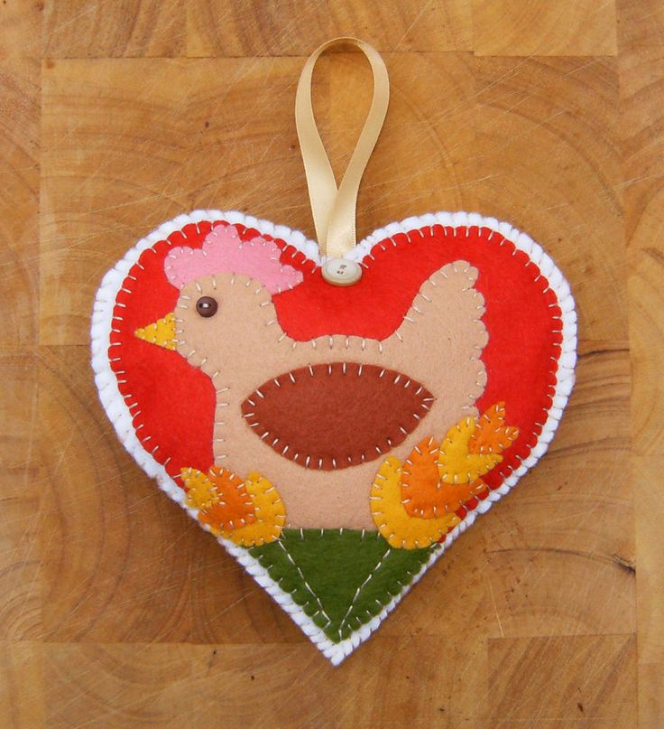 Country Chicken * Heart * Felt * Sewing * Applique * Pattern