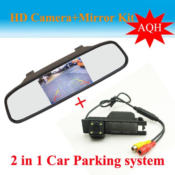 2 in 1 Auto parking System for OPEL Astra H/Corsa D/Meriva A/Vectra C/Zafira B CCD Car Rear View Camera +  HD  Car rear Mirror