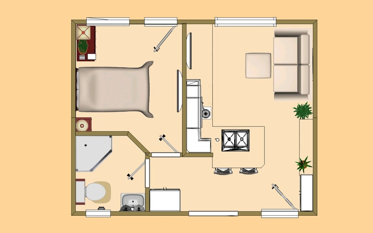 300 Sq Ft Apartment Floor Plan: The Floor Plan View In The 320 Sq Ft Version Of Cozy's