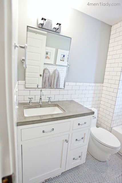 I Love The Concrete Counters, The Penny Tile Floor, Subway Tile With The  Dark Grout, And The Tilt Mirror. Basically The Exact Bathroom I Want For  The Master ...