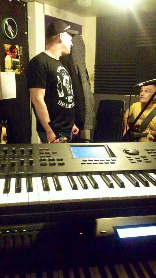 Timmy Jay and Chris Brikett rehearsing in the studio prior to recording the latest version of Dread Not.