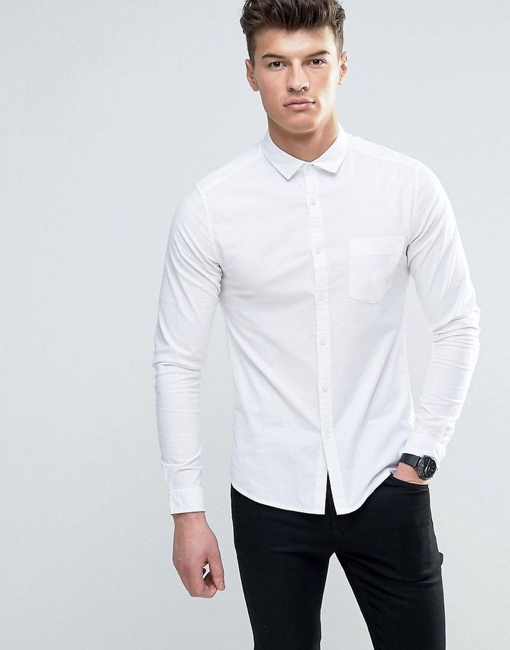 Get this Asos's basic shirt now! Click for more details. Worldwide shipping. ASOS Casual Skinny Oxford Shirt In White - White: Oxford shirt by ASOS, Breathable cotton, Contains stretch for comfort, Square collar, Chest pocket, Button fastening, Skinny fit - cut very closely to the body, Machine wash, 98% Cotton, 2% Elastane, Our model wears a size Medium and is 6'2�/188 cm tall. ASOS menswear shuts down the new season with the latest trends and the coolest products, designed in London and…