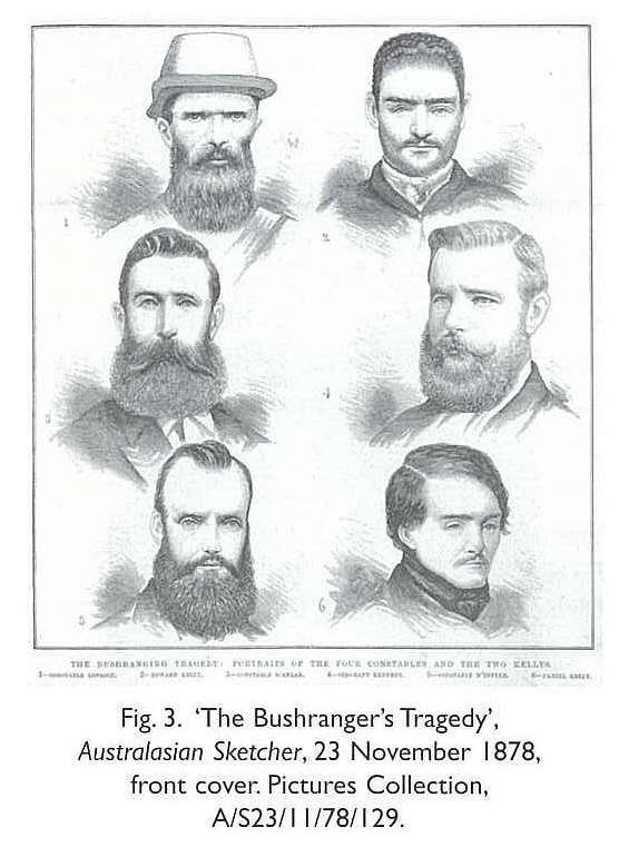 Fig. 3. 'The Bushranger's Tragedy', Australasian Sketcher, 23 November 1878,front cover. Pictures Collection, A/S23/11/78/129. six head-portrait engravings [newspaper illustration] The Four constables and two Kelly brothers from the shoot-out at Glenrowan