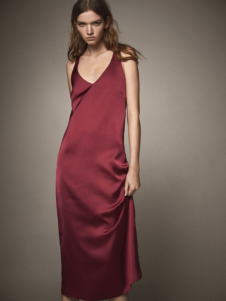 Spring Summer 2017 Women´s SATIN DRESS WITH CONTRASTING DETAIL at Massimo Dutti for 199. Effortless elegance!