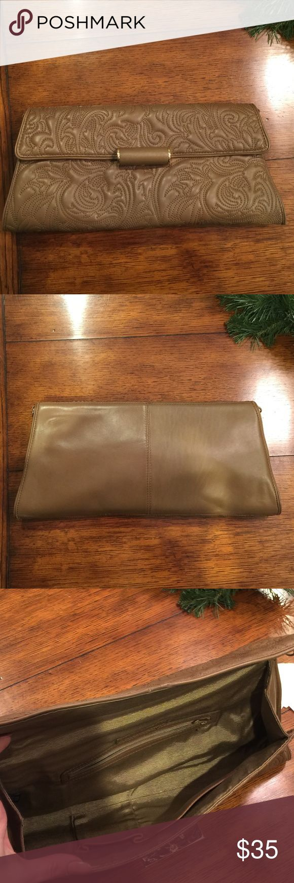 BCBG Clutch Beautiful leather large envelope clutch!  Worn only a few times. BCBG Bags Clutches & Wristlets