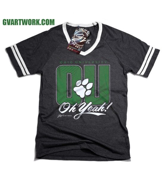 Womens V neck Ohio University OU Oh Yeah! T shirt