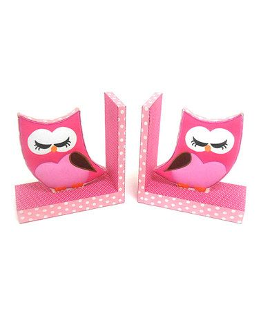 Take a look at this Pink Owl Fabric Bookend - Set of Two by Concepts on #zulily today!