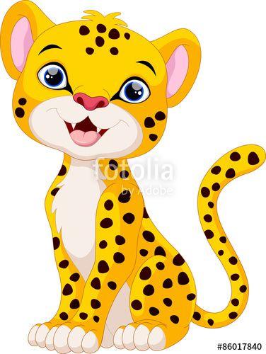 Vector: Cute cheetah cartoon