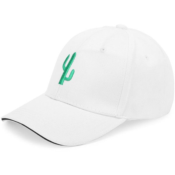 SheIn(sheinside) Cactus Embroidery Baseball Hat (19 BRL) ❤ liked on Polyvore featuring accessories, hats, white, embroidery hats, ball cap hats, polyester baseball caps, baseball cap and white baseball cap