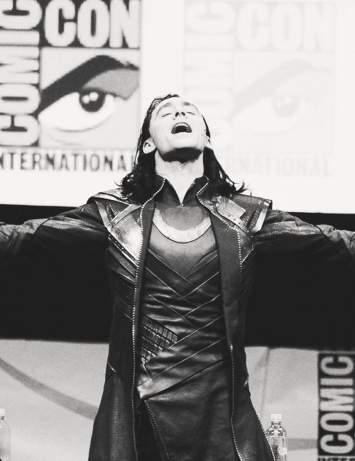SAY MY NAME! Tom Hiddleston cosplaying #Loki at the #SDCC (July 20, 2013) :D #TomHiddleston appears to be wearing his old Avengers' costume and hair. Thank you, #Marvel! Perfect birthday gift :)