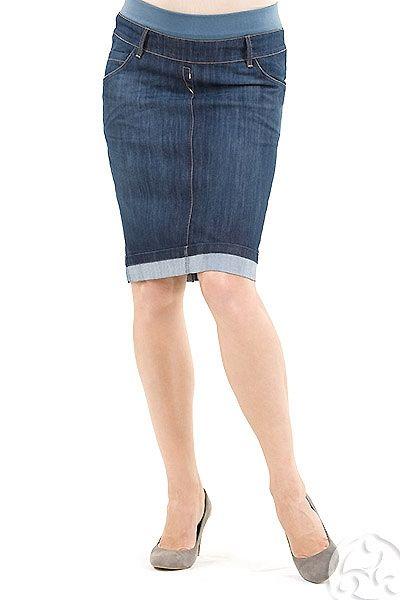 365d418fc2f Těhotenská riflová sukně úzkého střihu modré barvy