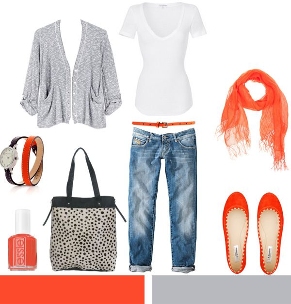 cute: Orange, Boyfriend Jeans, Fashion, Style, Clothes, Dream Closet, Scarf, Spring Outfits