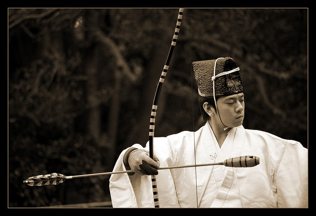 A practitioner of Kyudo, traditional Japanese archery. Photo by Incanus Japan on flickr.