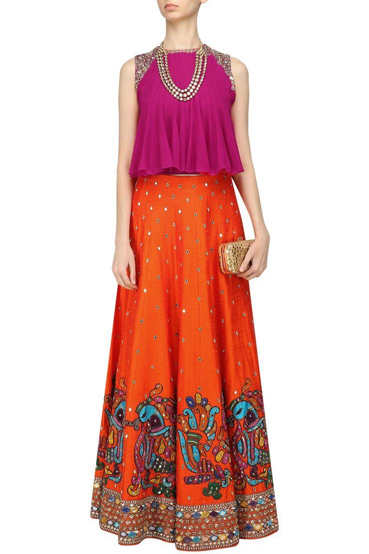 NEETA LULLA - Orange Embroidered Skirt and Pink Flared Top Set  #neetalulla #orange #embroideredskirt #pinkflaredtop #perniaspopupshop #perniaqureshi  #indowestern #contemporary #indianstyle #indianfashion #indiandesigner #happyshopping
