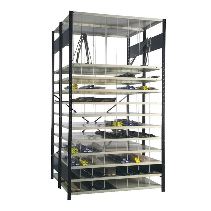 Molding Rack (Auto) : No. Shelves:24 / Width (inches):48 / Height (inches):87 / Depth (inches):24 / Net weight (lb.):591.04 / Functional design that ensures it's easy to use. / The unique shape of the Spider® post is a Rousseau Metal inc. trademark. / Load capacity and design adapted to storage in most industrial and commercial sectors.