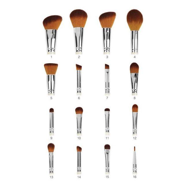 パールブラシセット 16種類のプロフェッショナル化粧ブラシ(合成ブラウンヘア) CS-BR-SET-022