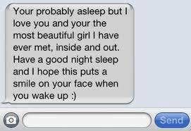 Sooooo sweet!!! We text until 1 every night and I almost always fall asleep on him, so he sends me these texts and it always brightens my day when I wake up in the morning :)