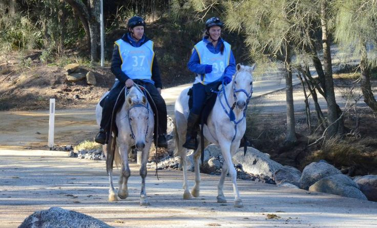 LONG RIDE: Garry Matthews and Jo Davis during the Currowan Endurance Ride on the weekend.