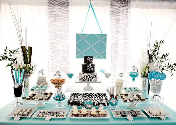 Teal: Dessert Tables, Sweet 16, Birthday Parties, Tiffany Blue, Zebras Prints, Bridal Shower, Parties Ideas, Desserts Tables, Baby Shower