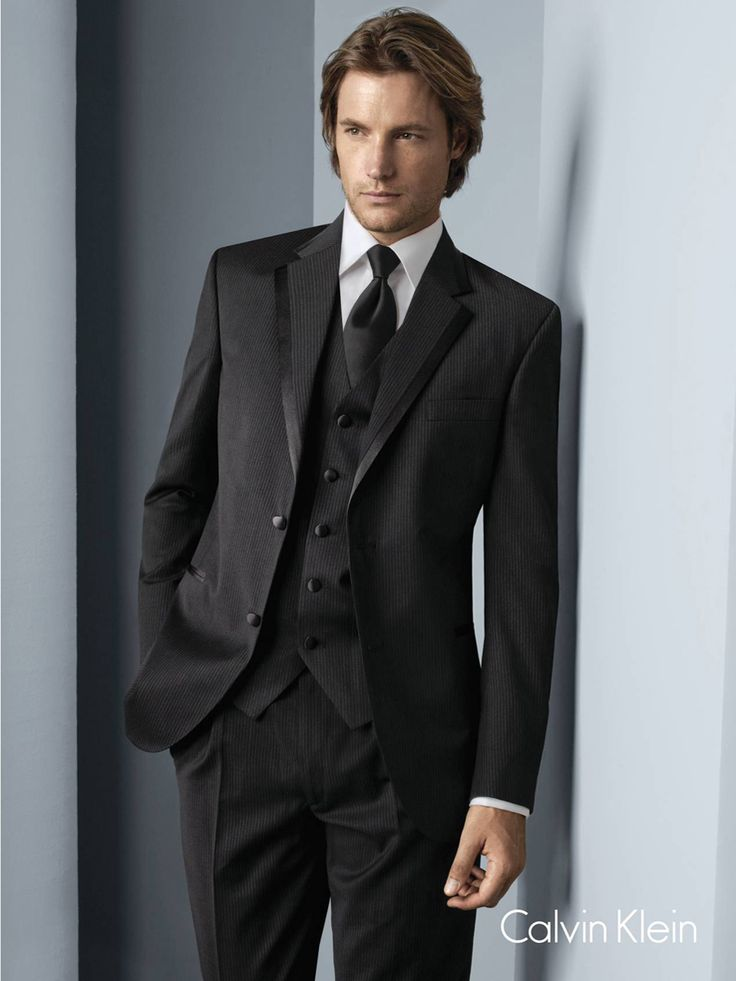Black Calvin Klein Concord Tuxedo Super 100s 2 Button Grey Pinstripe Notch Lapel