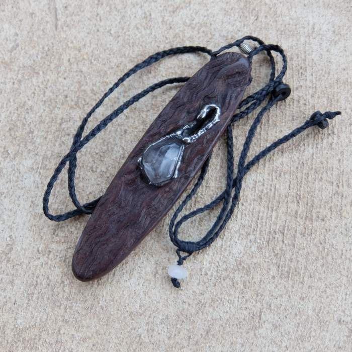 Artisan wood stone jewelry - Quartz crystal & eucalyptus wood - reversible magical wood stone jewelry by NaturesArtMelbourne on Etsy