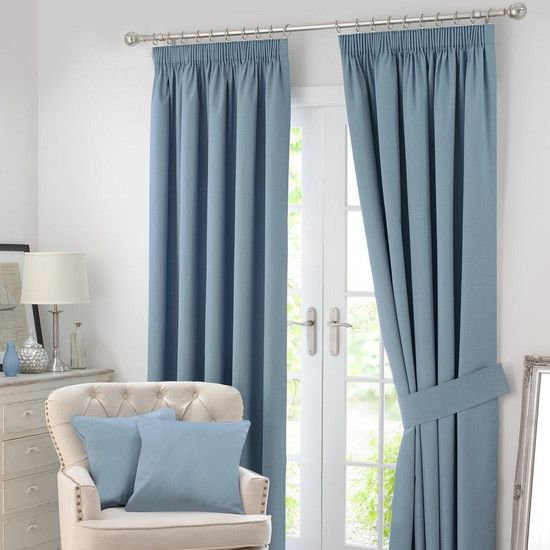 Chambray Solar Blackout Pencil Pleat Curtain Collection | Dunelm