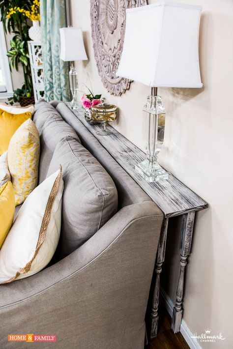 Simple DIY to make the most out of your living room space! Create a behind-the-couch table!