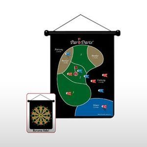 TWO-SIDED MAGNETIC GOLF DART BOARD by Golf Gifts & Gallery. $15.99. Combine two challenging sports into one! Aim your magnetic darts for the fairways and greens, deal with hazards and make putts. The board can be hung in a home or office. Game includes a 2-sided Dart Board, 12 Magnetic Safety Darts and 18-Hole scorecards. The flip-side features the classic dartboard design for traditional playing. A great gift for a golf nut on those rainy days!