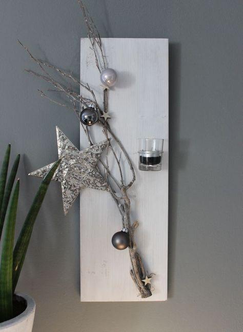 Cute Weihnachtliche Wanddeko Holzbrett wei gebeizt dekoriert mit einem u