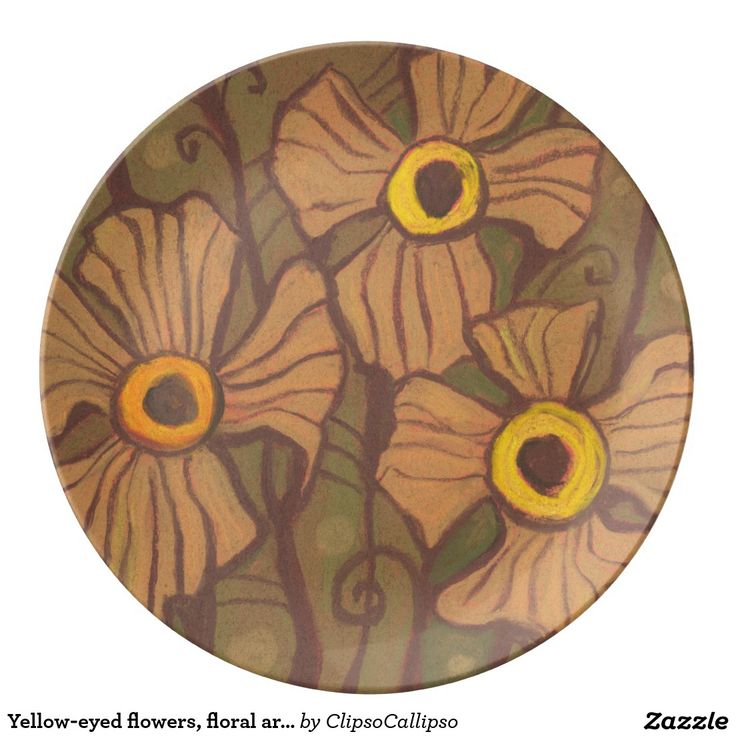 Yellow-eyed flowers, floral art,olive green brown dinner plate