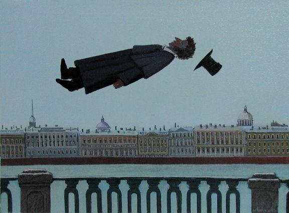 "Michael Iofin —  ""Puskin in St. Petersburg"" (2003, Acrylic, Canvas,   12""x9"")"