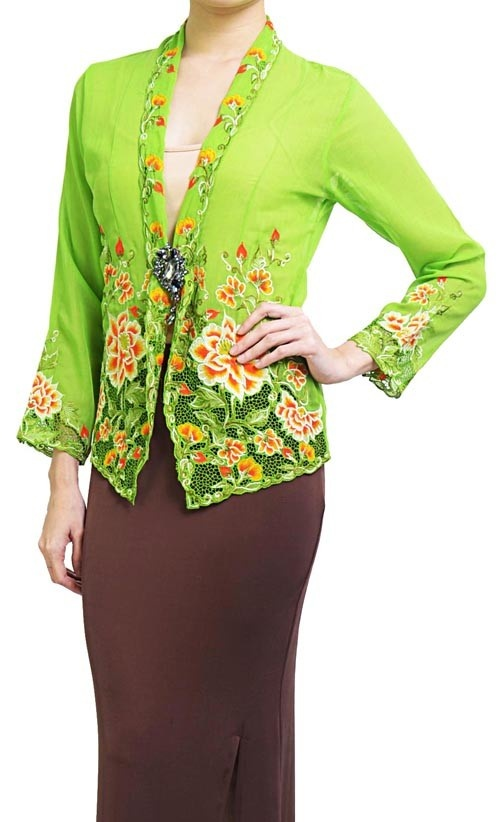 Lime Green & Chocolate Brown Nyonya Kebaya