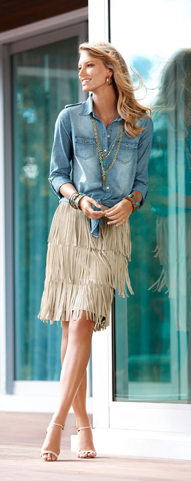 Chicos  Fringe Movement denim shirt and fringe skirt