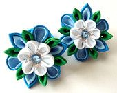 Kanzashi fabric flowers. Set of 2 ponytails . Blue, white and emerald.