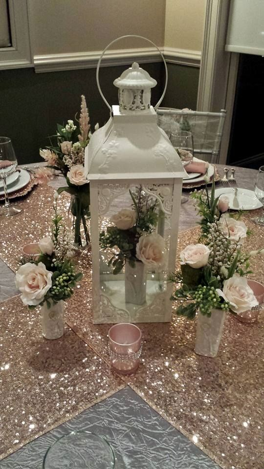 Blush pink table scape with sequin runners!