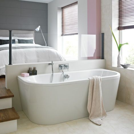 Trend back to wall bath - this will sit really well in your bathroom as it can fit tight back to the wall.  This will also mean that you can use a handheld shower without getting too much water over the floor.  It won't be suitable for having a standing u