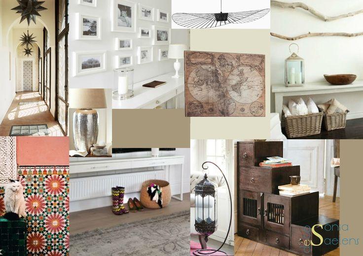 Planche tendance pour un espace entrée, ambiance ethnique chic et couleurs chaudes