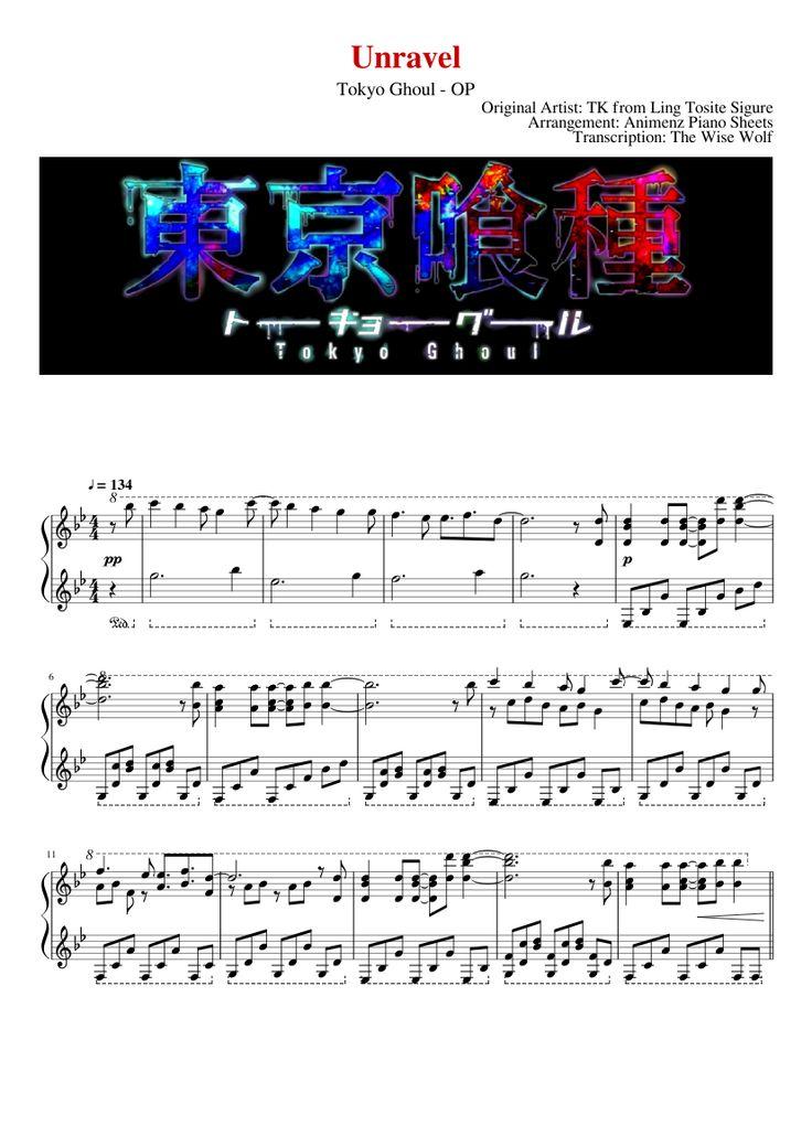 Unravel Tokyo Ghoul OP Piano Partition musique