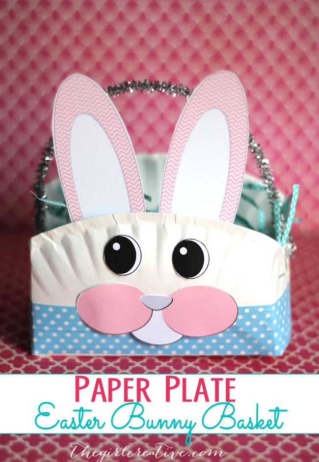 Paper Plate Easter Bunny Basket | Super fun Easter craft to do with your littles. #eastercrafts #diy #easter #kidscrafts