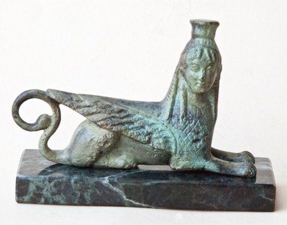 Mythical Sphinx Bronze Sculpture, Greek Mythical Creature, Ancient Greece, Museum Replica, Metal Sculpture, Greek Art Decor, Unique Gift