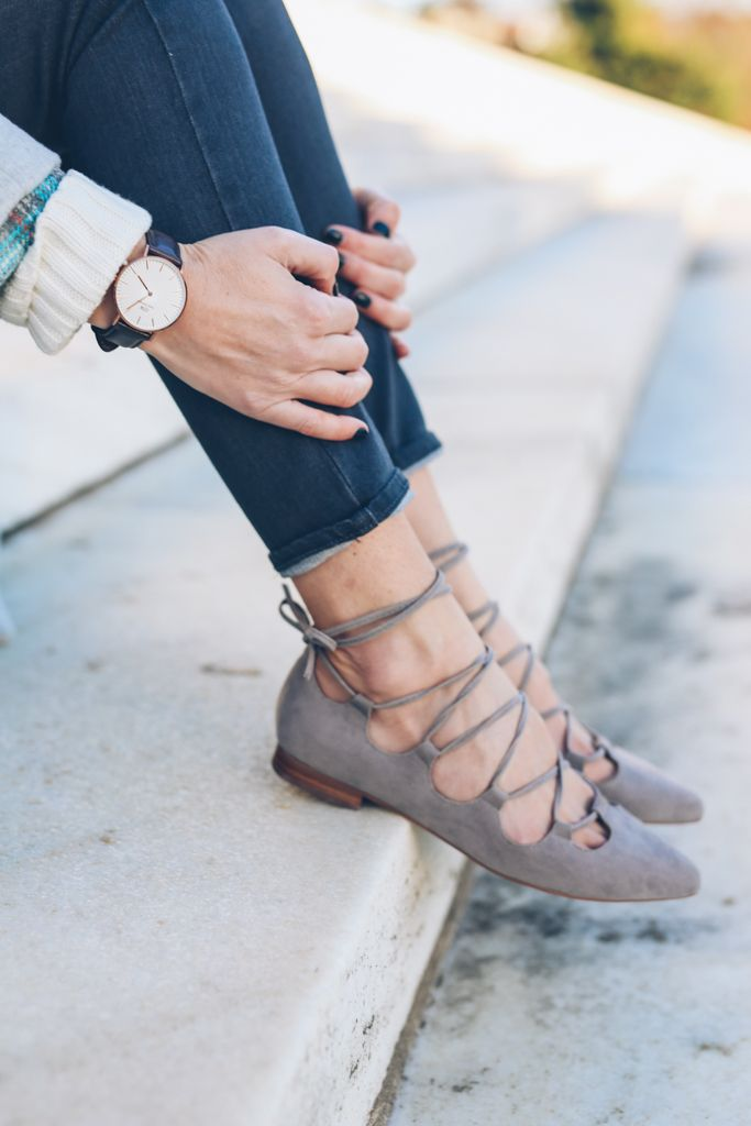 Anthropologie Lace Up Flats and Daniel Wellington Watch on Prosecco and Plaid