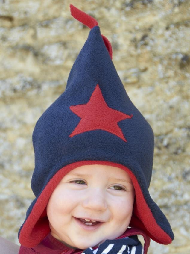 Navy / Red Fleece Star Hat