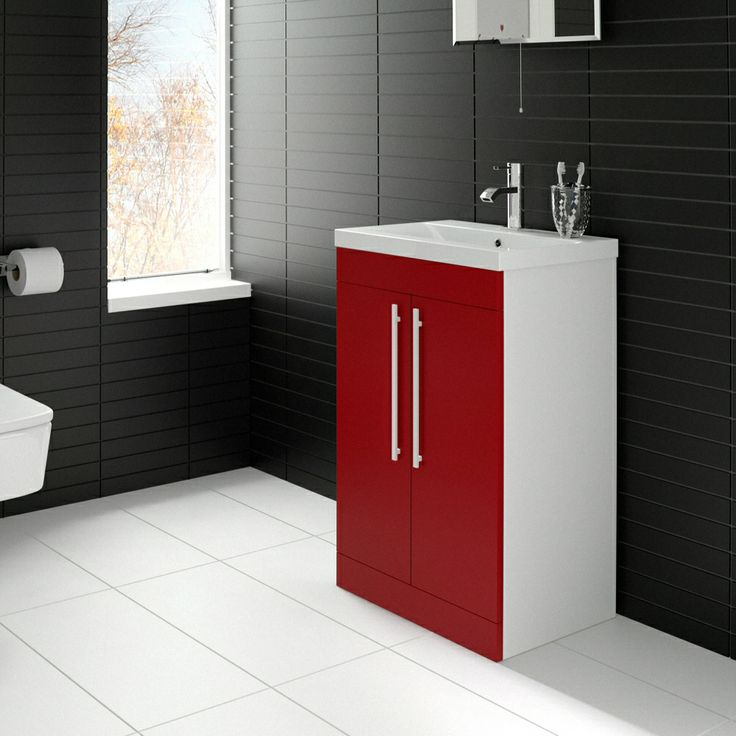 Add a bright splash of colour to your bathroom with this stylish red gloss vanity unit