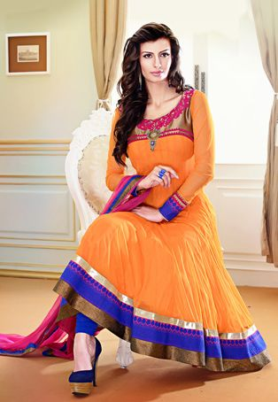 Utsav Fashion : light-orange-net-readymade-anarkali-churidar-kameez