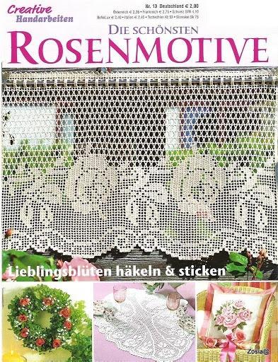 crochet - Filet roses Valance